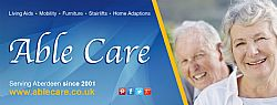 Facebook banner for Able Care's Aberdeen showroom page